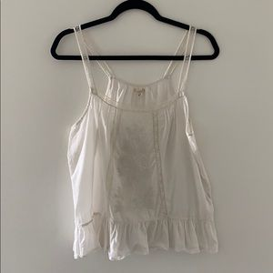 Aerie White Floral Embroidered Tank Top